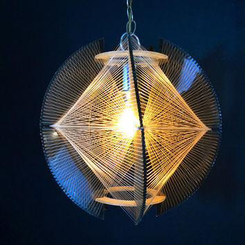 RARE and UNIQUE Smoked Acrylic Swag Lamp, Mid Century Modern Hanging Light, Mod Hanging Lamp, Nylon and Plastic Hanging Fixture, Lucite