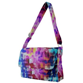 Blue Pink Watercolors Full Print Messenger Bag
