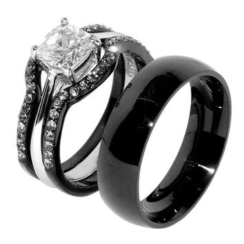 His & Hers 4 PCS Black IP Stainless Steel CZ Wedding Ring Set/Mens Matching Band-SIZE W6M10