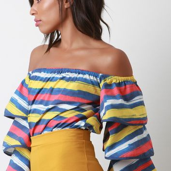Brushed Stripe Ruffled Sleeves Off Shoulder Top