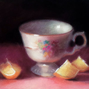 Teacup and Lemon Wedges Original Pastel by LittletonStudio on Etsy