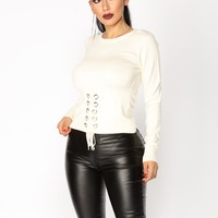 In The Moment Lace Up Top - Ivory