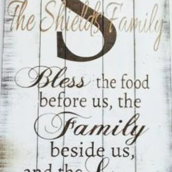 """Personalized Family Sign, """"Bless this Food....."""""""