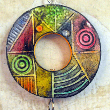 Colorful  Artisan Polymer Clay Pendant - Handmade