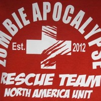2012 Red Zombie Apocalypse Rescue Team Horror Funny Adult T-Shirt Tee