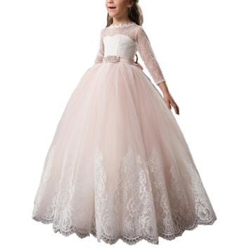 Abaowedding customise long sleeve pink lace flower girl dresses 2017 ball gown party dresses for girls 12 10 communion dresses