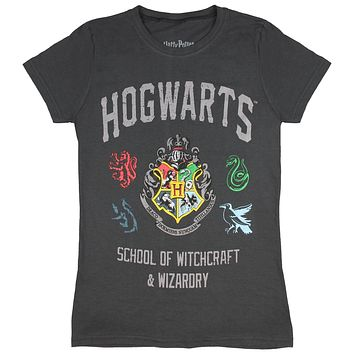 Harry Potter Juniors Distressed Hogwarts School Of Wizardry And Witchcraft House Crest Banner T-Shirt
