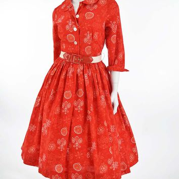 50s 60s Red Floral Print Shirtwaist Dress-S
