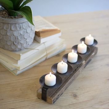 Five Metal Candle Holders On A Recycled Wooden Base