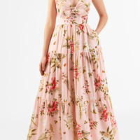 Floral print bow-tie crepe tiered maxi dress