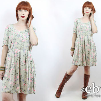 Vintage 90s Pale Green Floral Babydoll Dress XL 1X 2X 90s Grunge Dress 90s Floral Dress Floral Mini Dress Plus Size Dress Plus Size Vintage