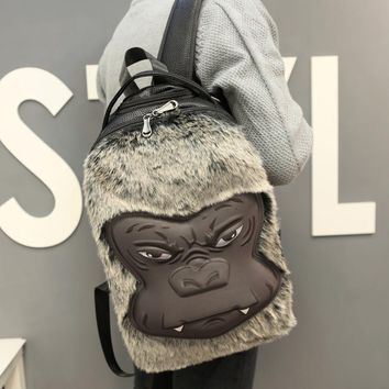 Cool 2017 Women Backpack 3D Printing Animal Wool Pu Monkey Face Orangutan Male Female School Bags Computer Bag Travel Mochila