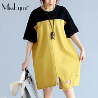 4XL 5XL 6XL Women T Shirt Dress Summer Loose Harajuku Vintage Denim Patchwork Pocket Holes Asymmetry Dresses