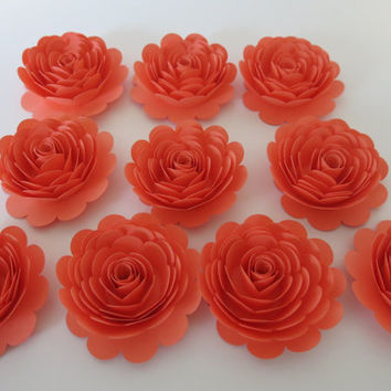 "Coral Rose decorations, 10 big 3"" salmon paper flowers, gorgeous wedding table centerpieces, Bridal shower decor girl gift idea nursery wall"