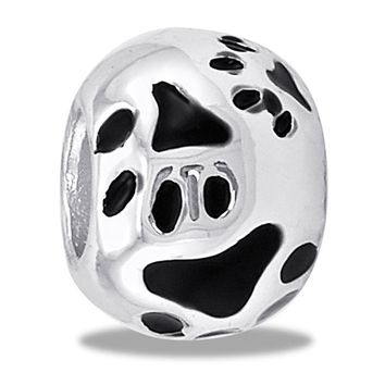 DaVinci Beads Silver Ball With Dog Paws