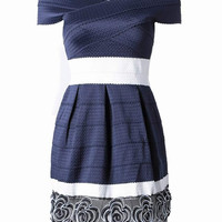 Navy Contrast Off The Shoulder Floral Hem Bandage Dress