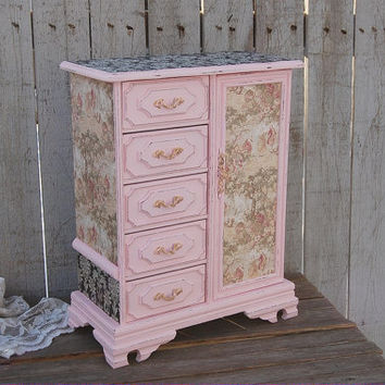 Jewelry Armoire, Shabby Chic, Jewelry Box, Music Box, Pink, Gold, Toile, Damask, French, Decoupage, Upcycled, Hand Painted, Large, Tall