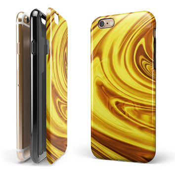 Swirling Liquid Gold iPhone 6/6s or 6/6s Plus 2-Piece Hybrid INK-Fuzed Case