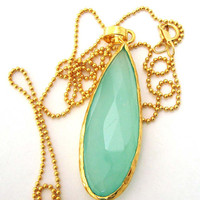 40mm Large Long blue seafoam Aqua Chalcedony stone drop pendant with 14k gold filled bead chain necklace