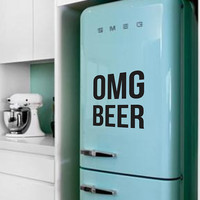 OMG BEER Fridge Sticker Vinyl Decal Alcohol Drink Fridge Sticker Decal Funny Text Sticker Mini Fridge Sticker Refrigerator Decal Oh My God
