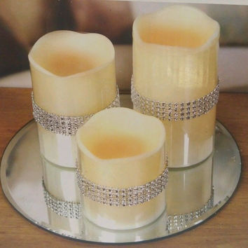 LED Candles 3pc Silver Bead Band Mirror Tray Warm Glow Melted Top Battery New