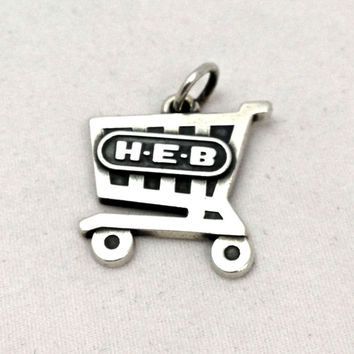 Rare James Avery HEB 100 Years Anniversary Grocery Cart Charm Sterling Silver