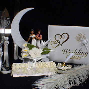 Aladdin & Jasmin Wedding Cake Topper Glasses Knife LOT Disney Guest book Garter