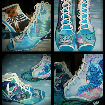 Alice In Wonderland Hand Painted Shoes made by BlancheOfArts