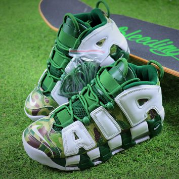 Bape x Nike Air More Uptempo OG Basketball Shoes White Gren Camo Sneaker - Best Online Sale