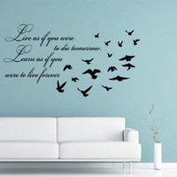 Wall Decals Quote Live As If You Were To Decal Birds Vinyl Sticker Family Bedroom Home Decor Art Mural Ms383