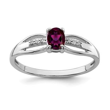 Sterling Silver Oval Rhodolite Garnet and Diamond Ring