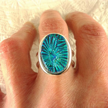 Dichroic Glass Ring Fused Glass Jewelry Blue by AngelasArtGlass