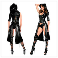New Arrival Gothic Punk Wetlook Sweet Pea Hooded Latex Pvc Gown Dress Costume  Free Drop Shipping + Fast Delivery