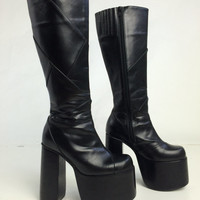 90's Goth Mega Platform Patchwork Faux Leather Knee Boots // 8