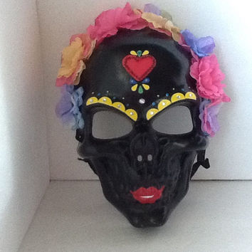 Mask, Day of The Dead, Halloween, Sugar Skull,Black Halloween Skull,Black Skull Mask