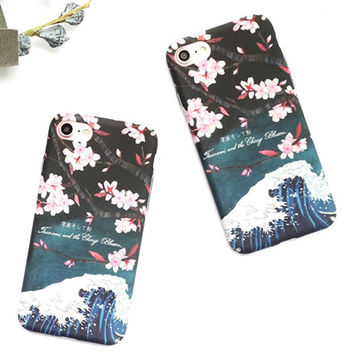 Beautiful Cherry Blossoms Phone Case For iphone 7 Case For iphone 7 7 Plus 6s 6 Plus Fashion Cherry Flowers Hard PC Phone Covers -0405