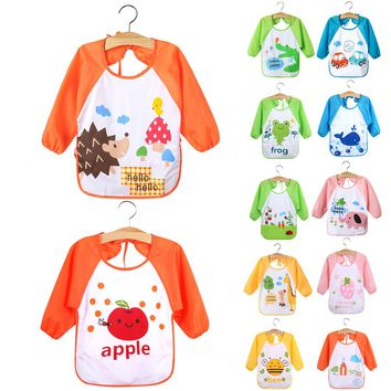 New Children Baby Todders Waterproof Long Sleeve Art Smock Bibs Apron Cartoon Feeding baberos bavoir clothing