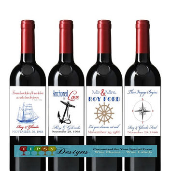 Nautical Anniversary Wine Bottle Labels Wedding Wine Lables Customized Personalized Set of 4
