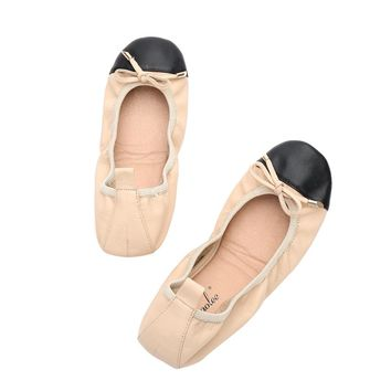 Aohaolee Two Tone Round Toe Elastic Band Geniune Leather Bowtie Shoes Women's Ballerina Flats Shoes Foldable Ballet Flats Loafer