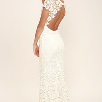 My Flare Lady Cream Lace Maxi Dress