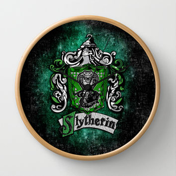 Harry potter Slytherin team flag Decorative Circle Wall Clock Watch by Three Second