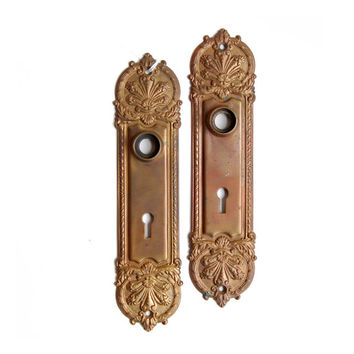 FREE SHIPPING Vintage Antique Pair Ornate Victorian Brass Backplates Escutcheons, E1122