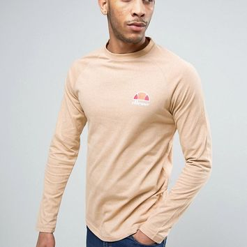 Ellesse Long Sleeve T-Shirt With Small Logo in Slubby Fabric at asos.com