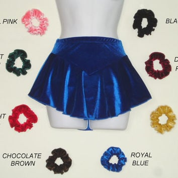 Figure Skating Skirts-Superb Velvet-2 Reds- Blue-Black-Green-Pink-Gold-Brown-Purple-Girl Sizes-Attached Brief-Hair Tie-BUY 3 SAVE 15%-Skater