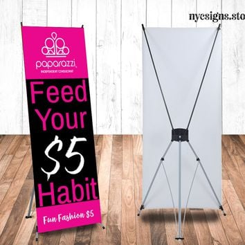 Paparazzi Full Color Printed Vinyl Banner with X Stand