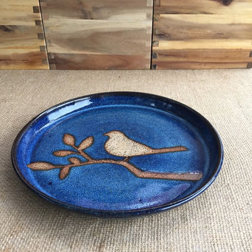 Bird on Branch Serving Plate Cobalt Blue Stoneware Pottery HANDMADE