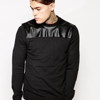 ASOS Sweater with Leather Look Yoke - Black