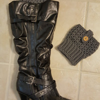 Women's Boot Cuffs with Wood Button Accent