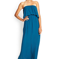FOREVER 21 Strapless Flounce Maxi Dress