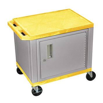 H. Wilson Mobile Multipurpose Storage Tuffy Utility Cart Lockable Cabinet Push Handle Yellow Nickel Legs